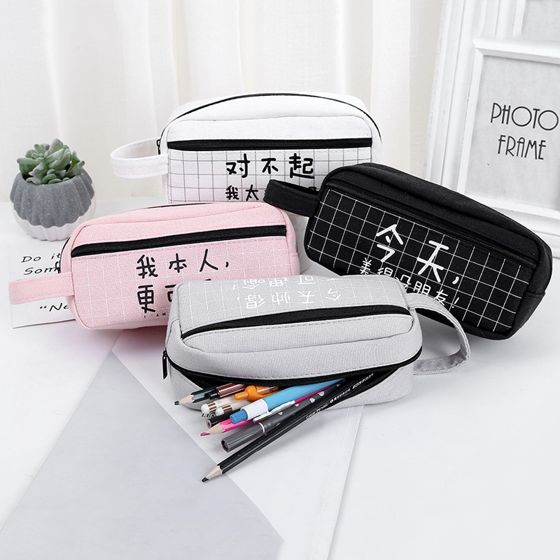 Estuche para lápices creativo caracter chino, estuche de gran capacidad, caja de lápices de lona Kawaii, papelería, suministros escolares, papelería