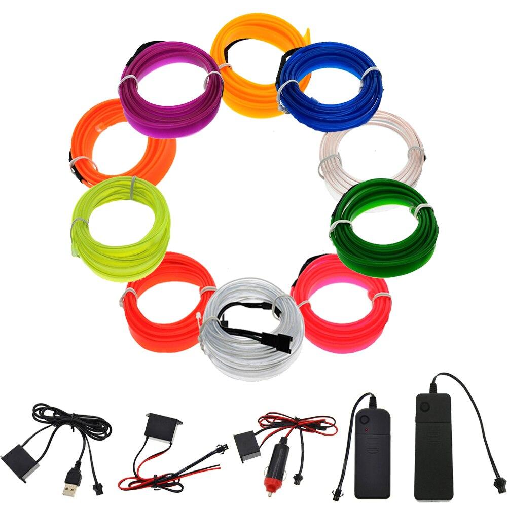 3V 5V 12V luz de neón EL cable de 1M 2M 3M 5M del inversor del coche 10 colores de LED con controlador de luz de neón zapatos fiesta zapatos de bicicleta
