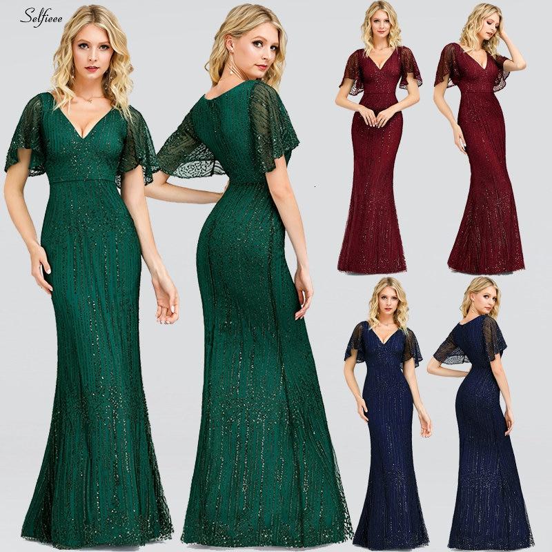 Sexy Sequined Maix Dress For Women Short Sleeve V-Neck Bodycon Evening Party Dress Elegant Long Ladies Dress Robe Femme 2020
