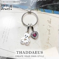 charm necklace bear heart2020 spring fashion charm carrier jewelry europe 925 sterling silver bijoux cute gift for women