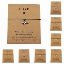 New Lovely Animal Cat Charm Bracelets for Women Men Best Friend Handmade Cat Lover Bracelets Make a Wish Jewelry Love Card Gifts