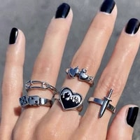 punk vintage silver color heart sword ring set for women gothic dice rings hip hop korean fashion male gift jewelry