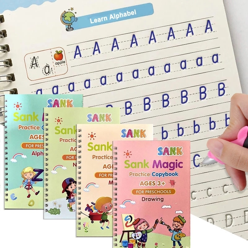 4-uds-se-hundio-magia-cuaderno-de-practica-para-copiar-ingles-para-los-ninos-reutilizable-magico-cuaderno-ninos-libro-de-rastreo-de-escritura