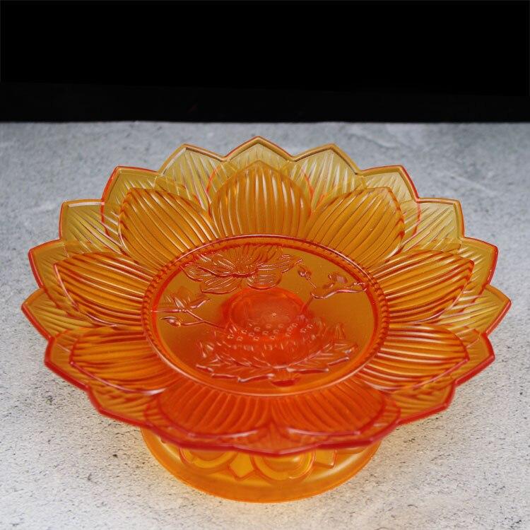 Buda salón hogar para fruta Placa de fruta Lotus fruta plato plástico fruta plato budista suministros que ofrecen suministros 8 pulgadas 7 pulgadas