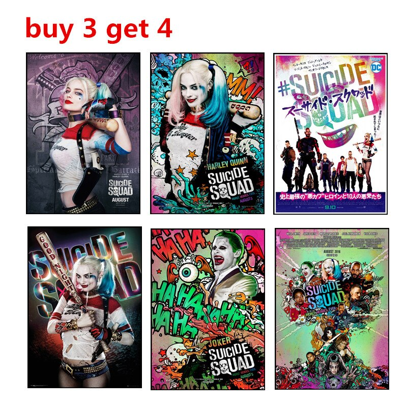 Póster blanco del Escuadrón suicida, póster artístico estampado de Harley Quinn y el Joker, póster de papel Kraft clásico para decoración del hogar, Bar