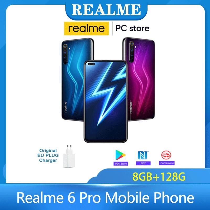 Realme 6 Pro Mobile Phone 6.6inch 90Hz 64MP Cam unlock phone 8GB RAM 128GB ROM Snapdragon 720G Smartphone 90Hz Display Cellphone