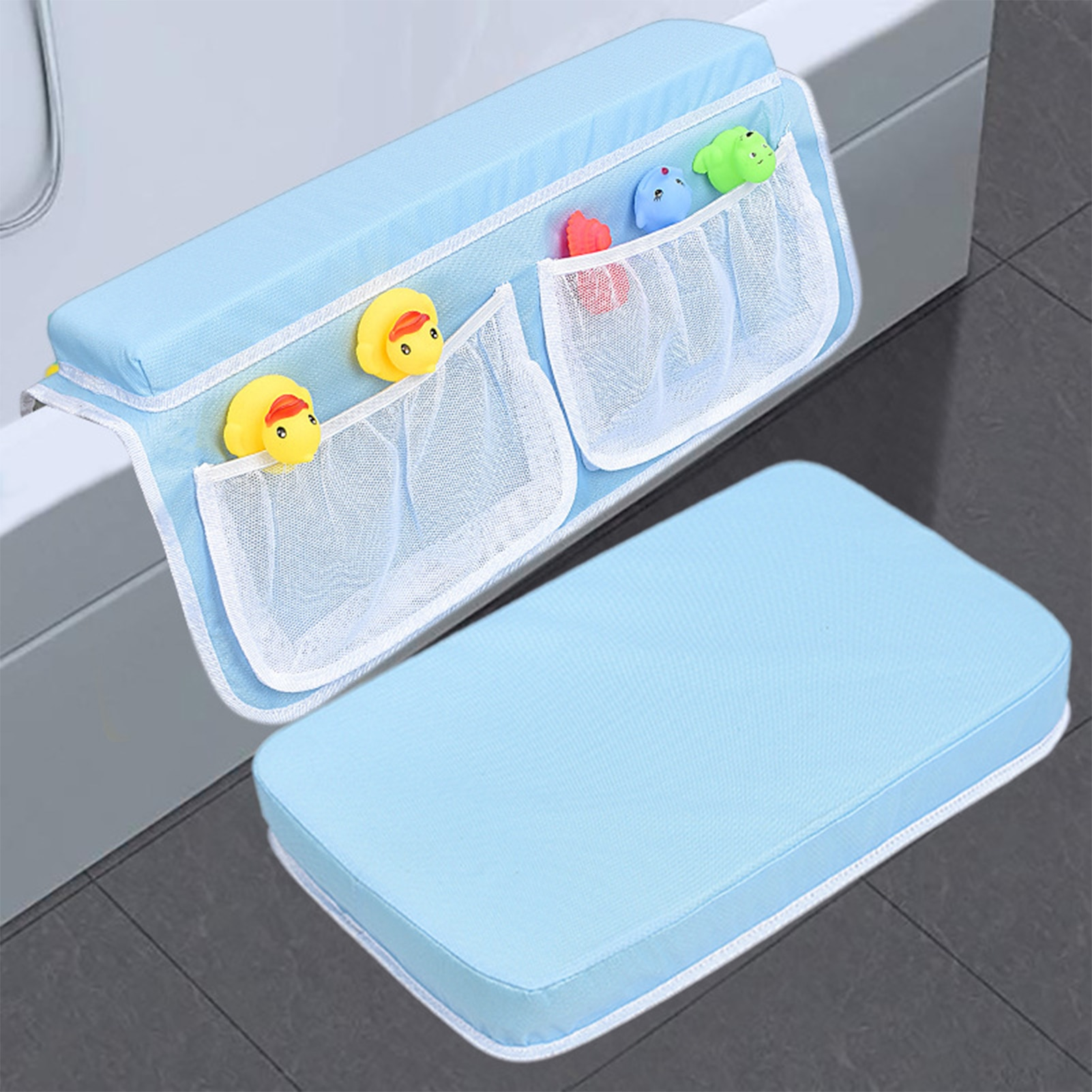 Bath Kneeler And Elbow Rest Pad Set Kneeling Mat With 4 Pocket Elbow Saver Mat Nonslip Mat Waterproof And Quick Drying