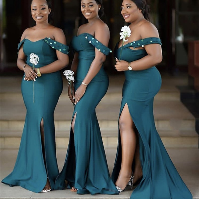 فساتين وصيفة الشرف مثيرة أخضر أفريقي طول الأرض سويب تراين شق جانبي حرير ساتان زفاف فساتين وصيفة العروس