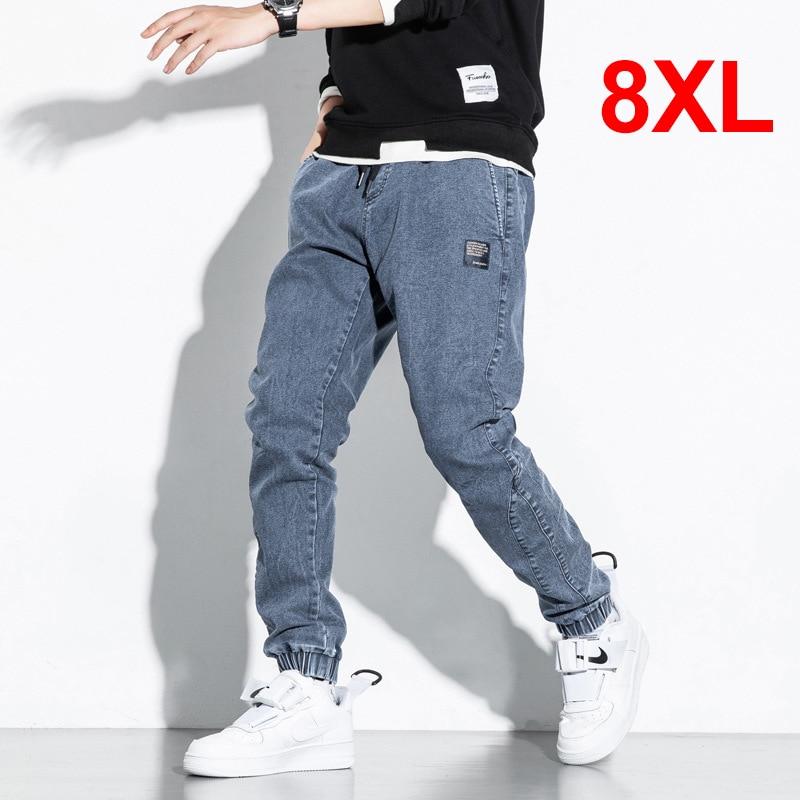 8XL Jeans Men Big Size Denim Pant Baggy Fashion Harajuku Skateboard Jeans Solid Color Elastic Waist Trousers Plus Size HX813