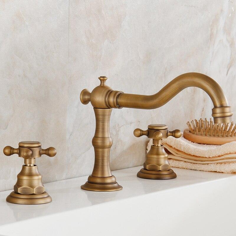 Grifos de cocina de bronce antiguo grifo de bañera tres juegos de cinco bañera de ducha retro Europea lavabo de agua caliente y fría