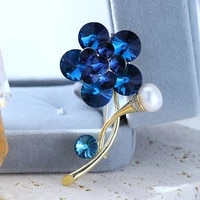 new austrian crystal blue flower brooch copper plated real gold high imitation beaded brooch high end pins