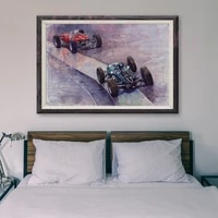Peinture classique de voiture de course retro T030  affiche en soie personnalisee  decoration murale  cadeau de noel  75