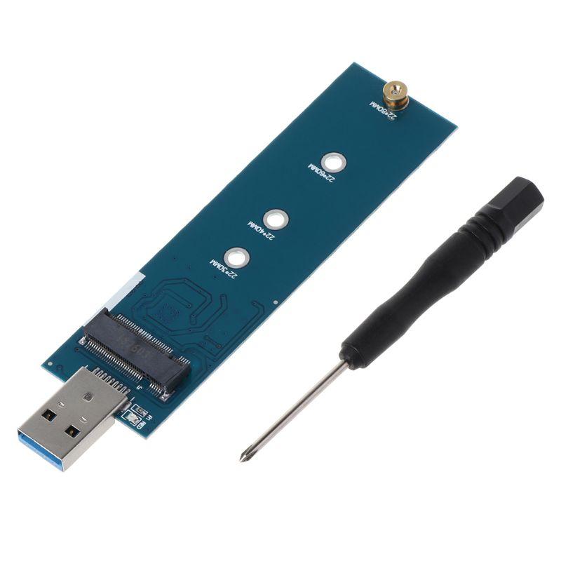 M.2 A Adaptador USB B clave M.2 SSD adaptador USB 3,0 a 2280 M2 NGFF SSD convertidor adaptador de disco lector SSD tarjeta