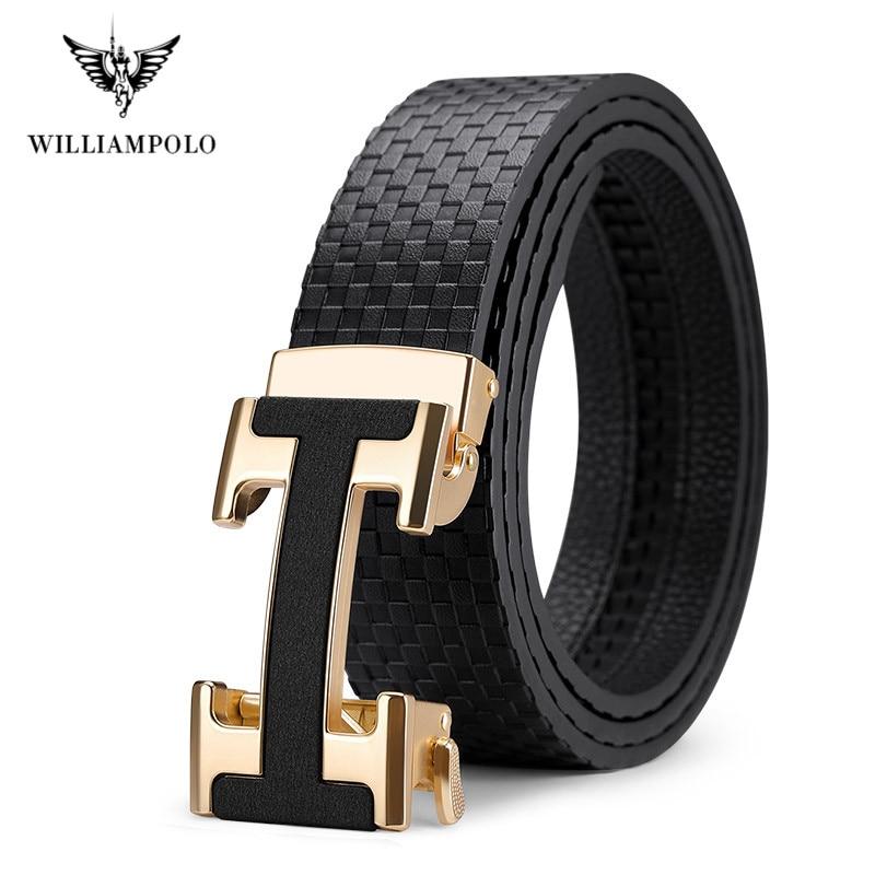 ويلياampolo العلامة التجارية الشهيرة حزام الرجال أعلى جودة حقيقية فاخرة جلد البقر أحزمة للرجال حزام الذكور المعادن موضة التلقائي مشبك