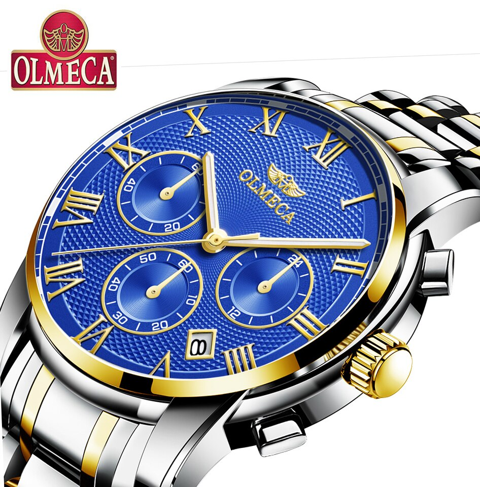 OLMECA Blue Luxury Men Watch Relogio Masculino Waterproof Fashion Wrist Luminous Hands Military Quartz Watches