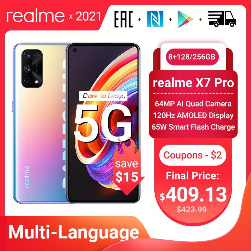 Перейти на Алиэкспресс и купить Смартфон realme X7 Pro, 128 дюйма, 8 + 6,55 ГБ, 120 Гц, 4 камеры 64 мп, 4500 мАч, 65 Вт