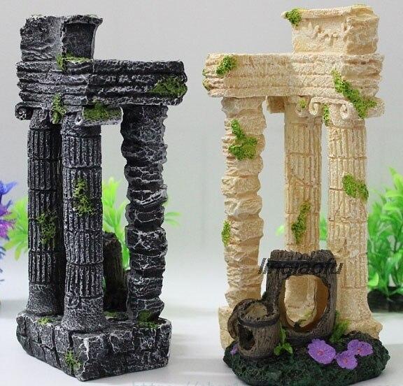 Tanque de peces de acuario decorativo paisaje artificial resina adornos de rocalla antiguas columnas romanas