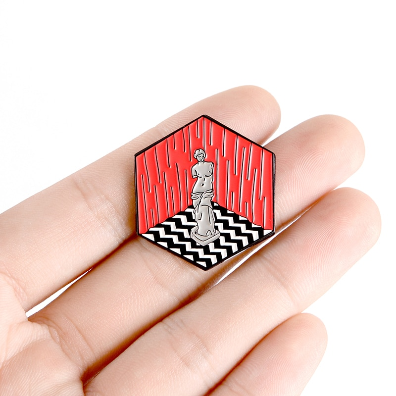XEDZ Greek Classic Nude Goddess Stone Enamel Pin Polygon Stage Art Commemorative Badge Punk Lapel Brooch Jewelry Friend Gift  - buy with discount