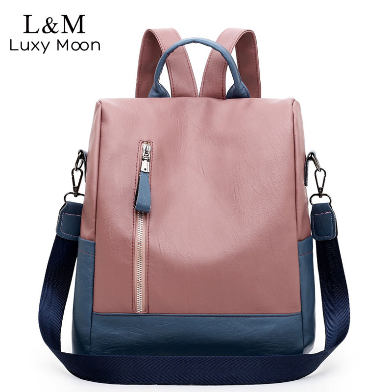 Women Backpacks 2020 New Soft Leather Bag For College Simple Casual Daypacks Mochila Female Anti theft School Backpacks XA509H