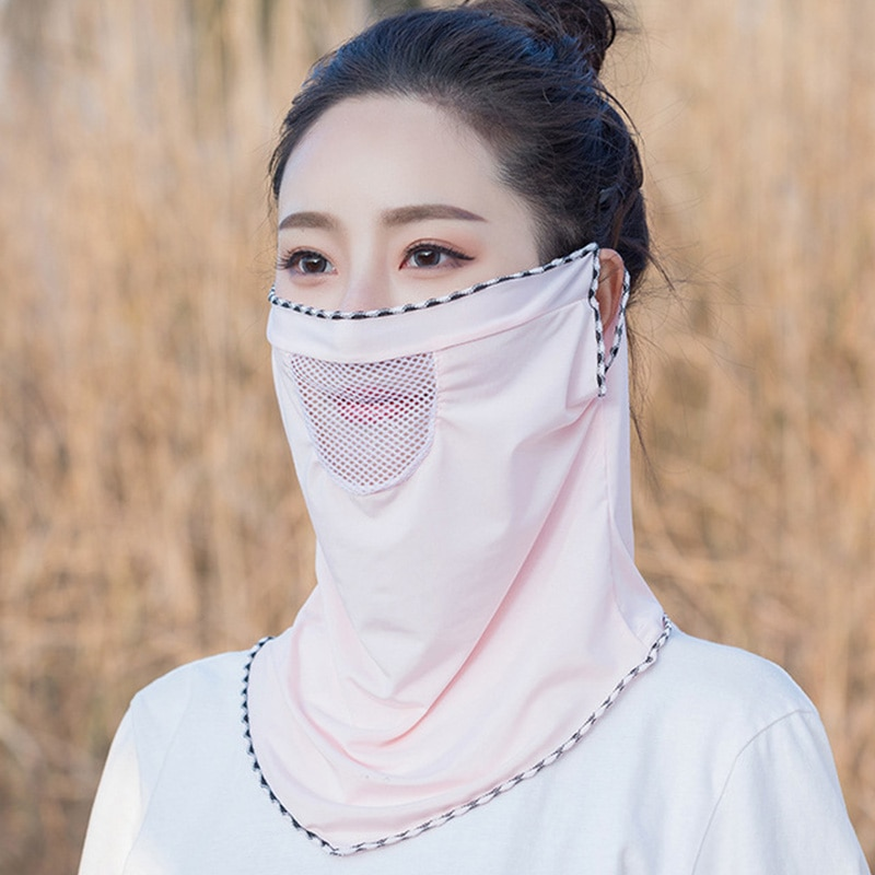 Women Breathable Face Cover Masks Silk Bib Neck Cover Sun Protection Hanging Ear Neck Veil Summer Triangle Scarf Headband