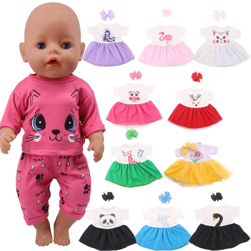 Muñeca falda animales diseños 2 unids/set accesorios CABEZA + vestido para 18 pulgadas American & 43 Cm Baby Doll Generation Girls regalo de Navidad