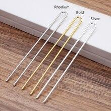 10 pcs/lot bâtons de cheveux 2x110mm en laiton brut couleur or U forme épingles à cheveux blanc Base réglage pour les femmes fabrication de bijoux en gros bricolage