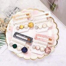 2020 3 teile/satz Koreanische Mode Gold Rosa Acryl Hohl Rechteck Perle Legierung Haarspangen Vintage Perle Haarspange Haar Clip Haarnadel