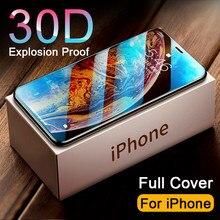 Vetro temperato 30D Full Cover acceso per iphone 11 12 13 PRO MAX proteggi schermo vetro protettivo su iphone 11 12 X XR XS MAX vetro