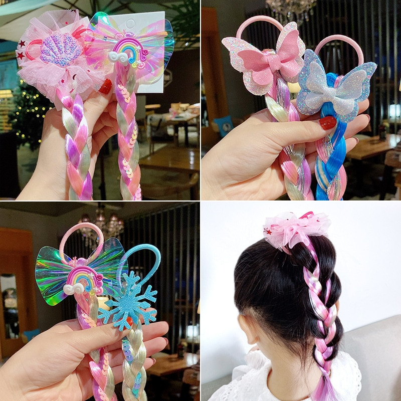 NEW Colorful Wig Pigtail Elastic Hair Rings for Girls Ponytail Ropes Sequin Glitter Unicorn Scrunchies Kids Headwear