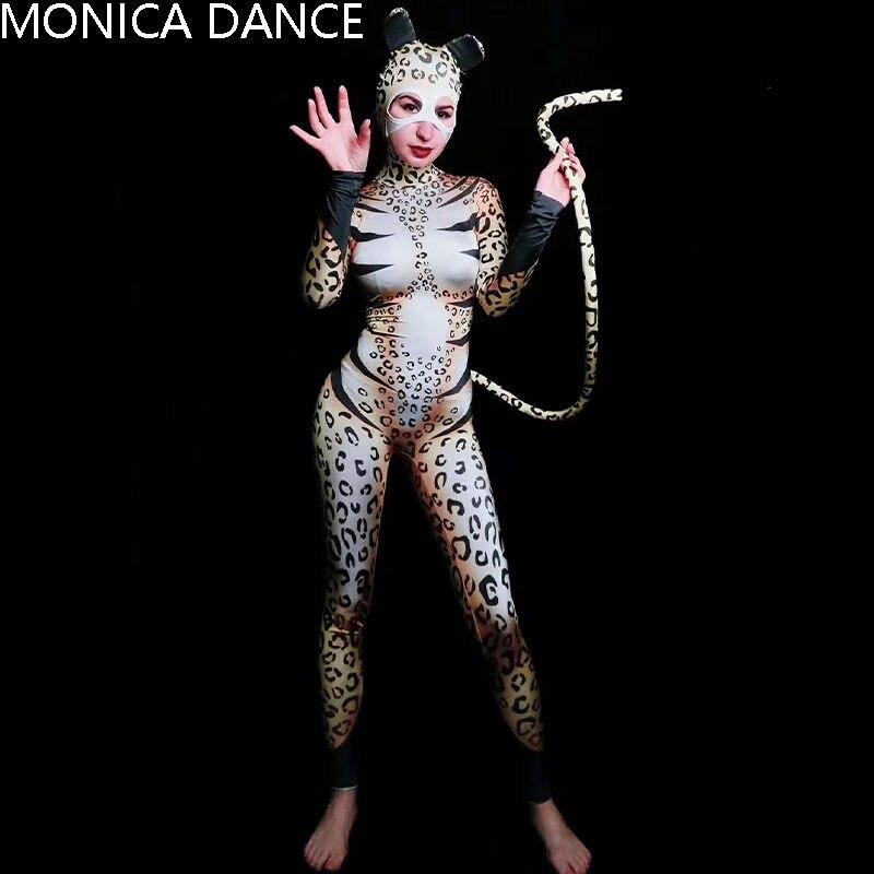 بدلة مثيرة على شكل قطة بنقشة الفهد للمسرح بدلة نسائية للمغنيات بدلة للرقص والحفلات الراقصة نموذج للعرض بدلة أعياد الميلاد