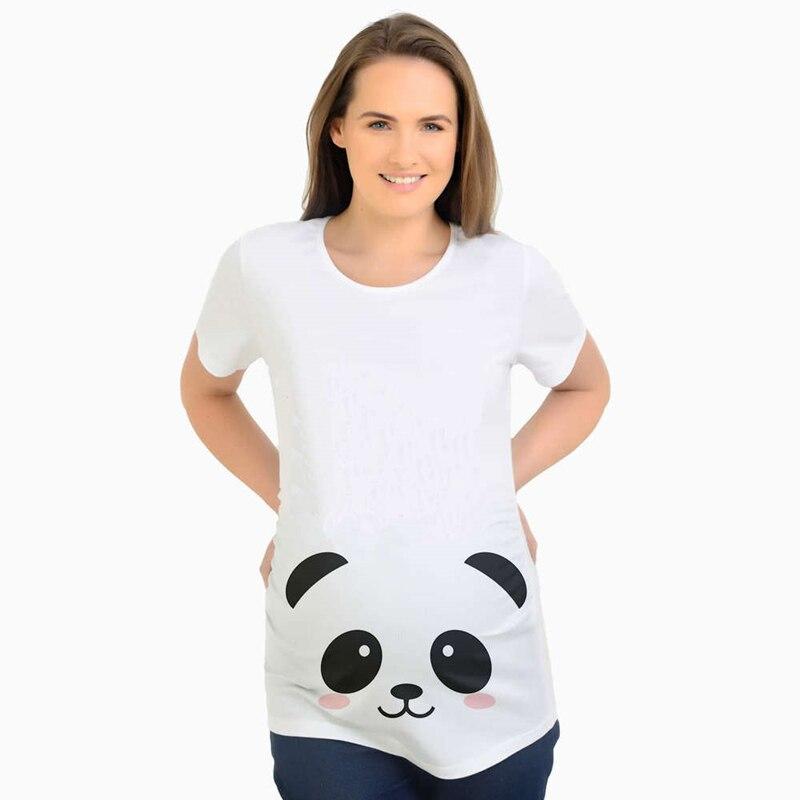 Mutterschaft Neue 2020 Sommer Mutterschaft Schwangerschaft T Shirt Frauen T Cartoon panda Druck Schwangere Kleidung Lustige T-shir