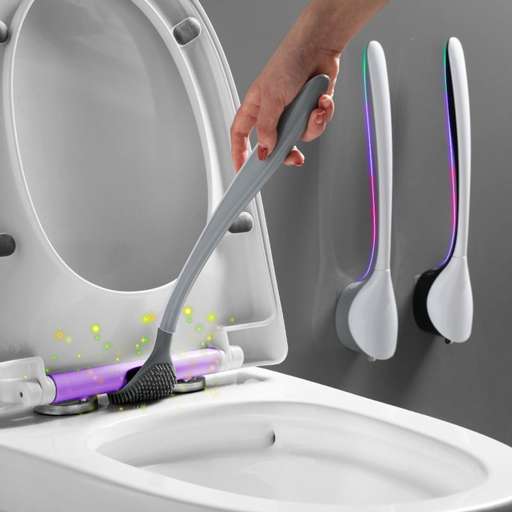 wall mounted toilet brush punch free silicone toilet brush bathroom wc brush set long handle no dead angle cleaning brush TPR Silicone Toilet Brush No Dead Angle Toilet Brush Household Toilet Brush Creative Wall-mounted Bathroom Cleaning with Holder