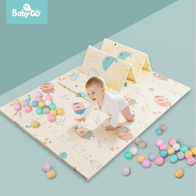 BabyGo طوي الطفل تلعب حصيرة XPE طعم الزحف حصيرة لعبة النشاط سميكة 1.5 سنتيمتر مقاوم للماء الطفل الزحف الوسادة 195*177*1.5 سنتيمتر