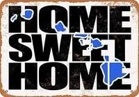 SRongmao     signe metallique 8x12  bleu hawaien  maison douce