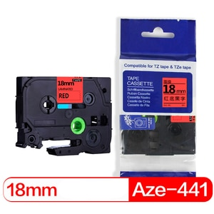 befon 2pcs/lot 18mm Black on Red Printer Ribbon Compatible for brother Aze441 Aze 441 p-touch p touch PT Label Printer Tape