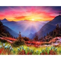 ruopoty coloring by numbers landacape sunrise acrylic handpainted for aduilt wall art painting by numbers kits home decor