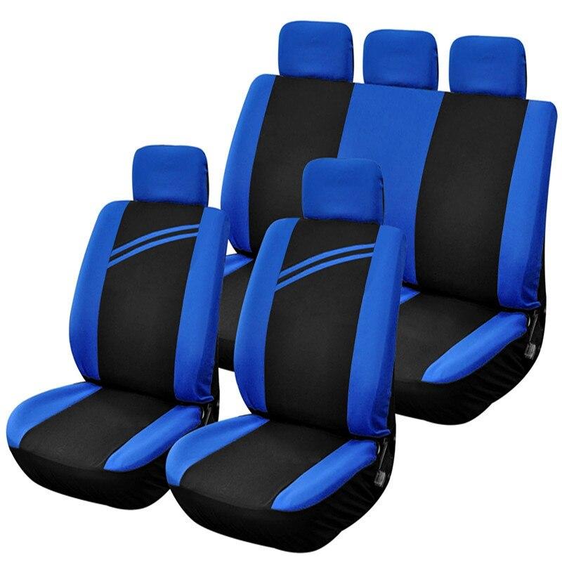 9Pcs Car Seat Automobiles Seat Covers Full Set Blue Car Seat Covers...