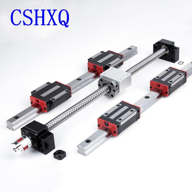 1 مجموعة بالولب SFU1204/1605/1610 + HGR15/20 دليل خطي 2 قطعة + 4 قطعة النقل الخطي HGH...CA/HGW...CC لقطع التصنيع باستخدام الحاسب الآلي