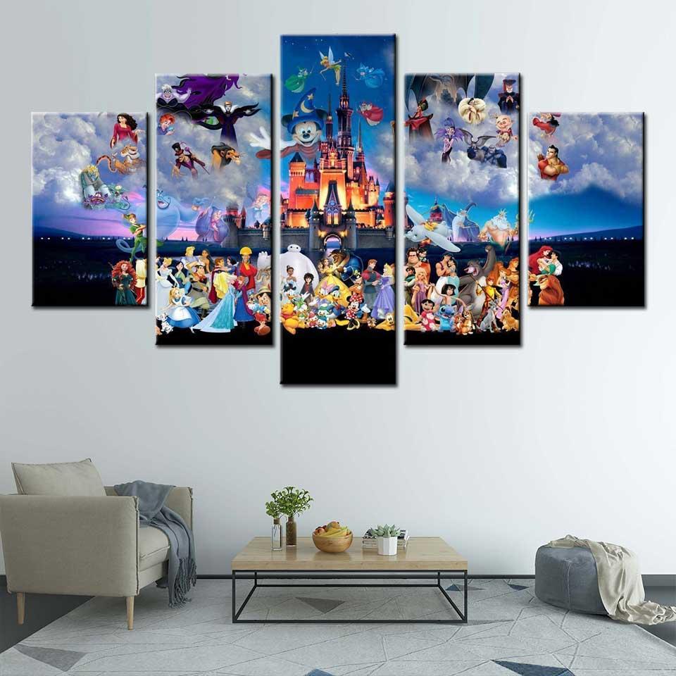 Lienzo moderno, arte de pared, 5 piezas, Castillo de Mickey Mouse, póster de dibujos animados, bonito cielo para niños, imagen de pared de habitación