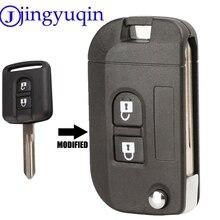 Jingyuqin-coque de clé 2 boutons   Pliable et rabattable, couvercle de porte-clés pour Nissan Qashqai primera Micra Navara Almera Note ensoleillée