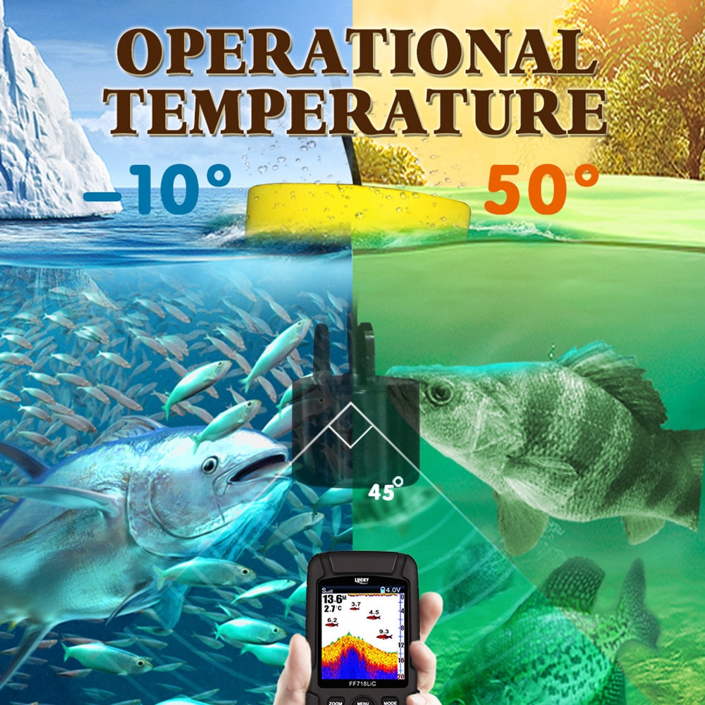 FF718LiCD Portable Fish Finder Wireless Monitor 2 in 1 200KHz/83KHz Dual Sonar Frequency 328ft/100m Detection Depth Echo Sound enlarge
