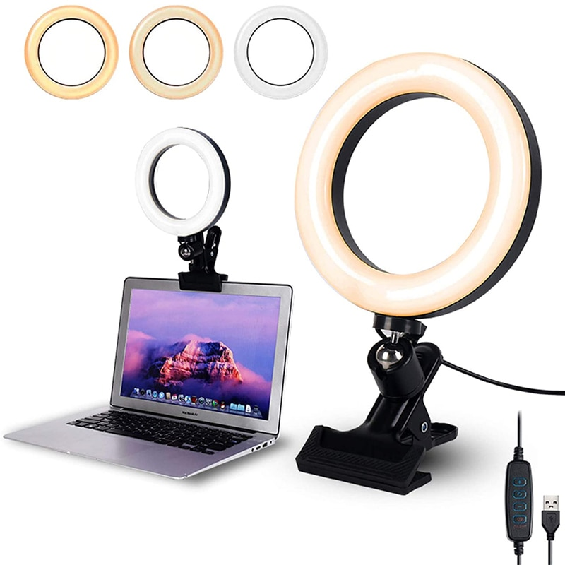 Selfie Ring Light Clip with Clamp Mount Desk Makeup Video 360 Degrees Rotatable Ring Lamp Dimmable Color Live Steam Webcam Light