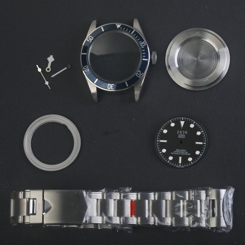 blue bezel  black bay 79220B FOR 2836 movement Watch repair Parts Case kit full steel 41mm