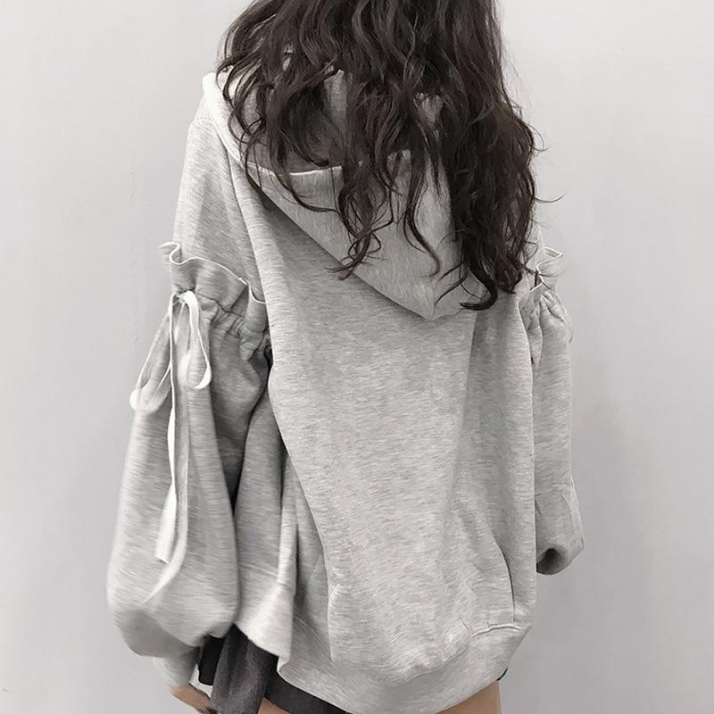 Осенне-зимние милые толстовки на молнии, женские повседневные Пуловеры в стиле Харадзюку со складками, женские толстые теплые свитшоты ове...
