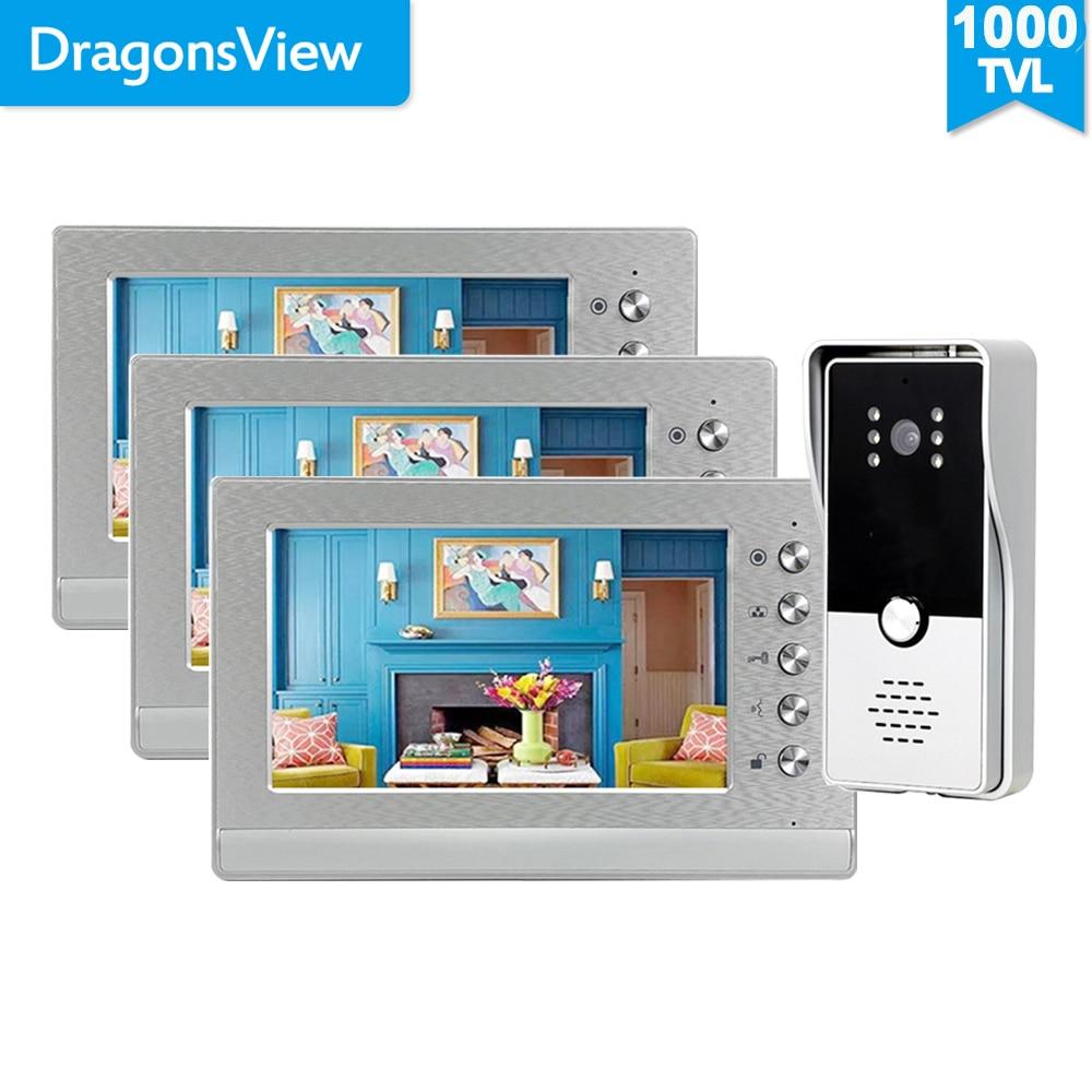 Dragonsview 7 بوصة السلكية فيديو نظام اتصال داخلي كاميرا فيديو بالجرس نظام متعدد 2/3 شاشات دعم قفل البوابة