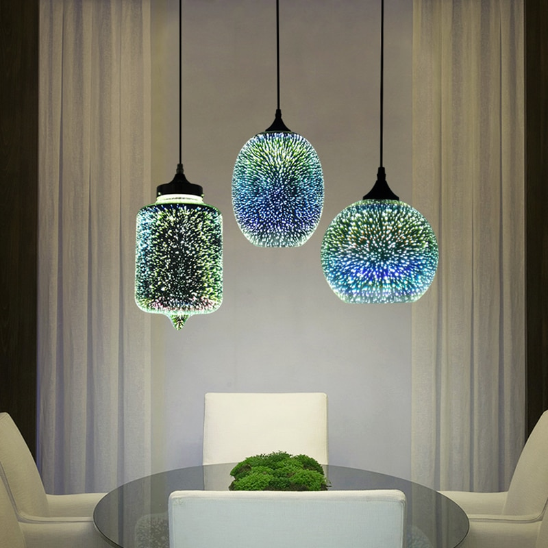 Modern 3D Colorful Nordic Starry Sky Hanging Glass Shade Pendant Lamp Lights E27 LED For Kitchen Restaurant Living Room