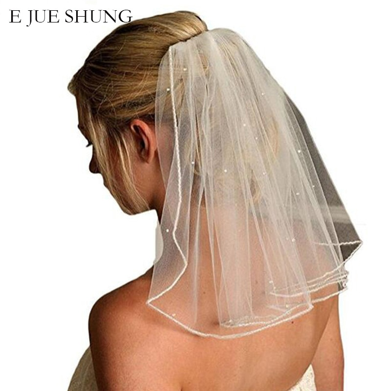 E JUE SHUNG Uma Camada Curto Véus De Noiva Com Pente Suave Tulle Véus de Noiva Com Pente Acessórios Do Casamento de Cristal
