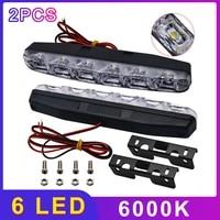 2pcs led car daytime running lights drl 6 leds dc 12v 6000k automobile light source car styling waterproof car accessories