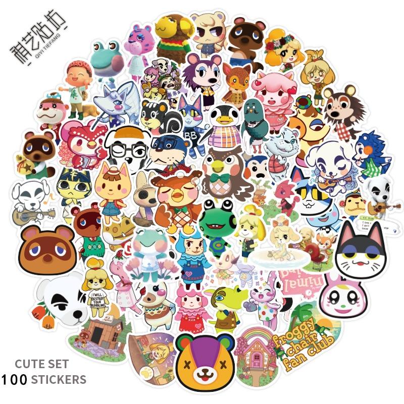 100pcs/set New Styles Animal Crossing Plush Toy Amiibo Marshal Rare Animals Mobile Phone Guitar Computer Diy Graffiti Stickers