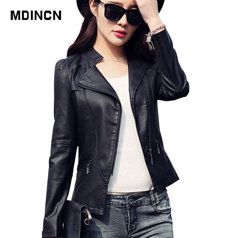 Mdincn 2020 silm jaqueta feminina primavera e outono preto falso jaquetas de couro com zíper casaco básico turn-down collar biker jacket
